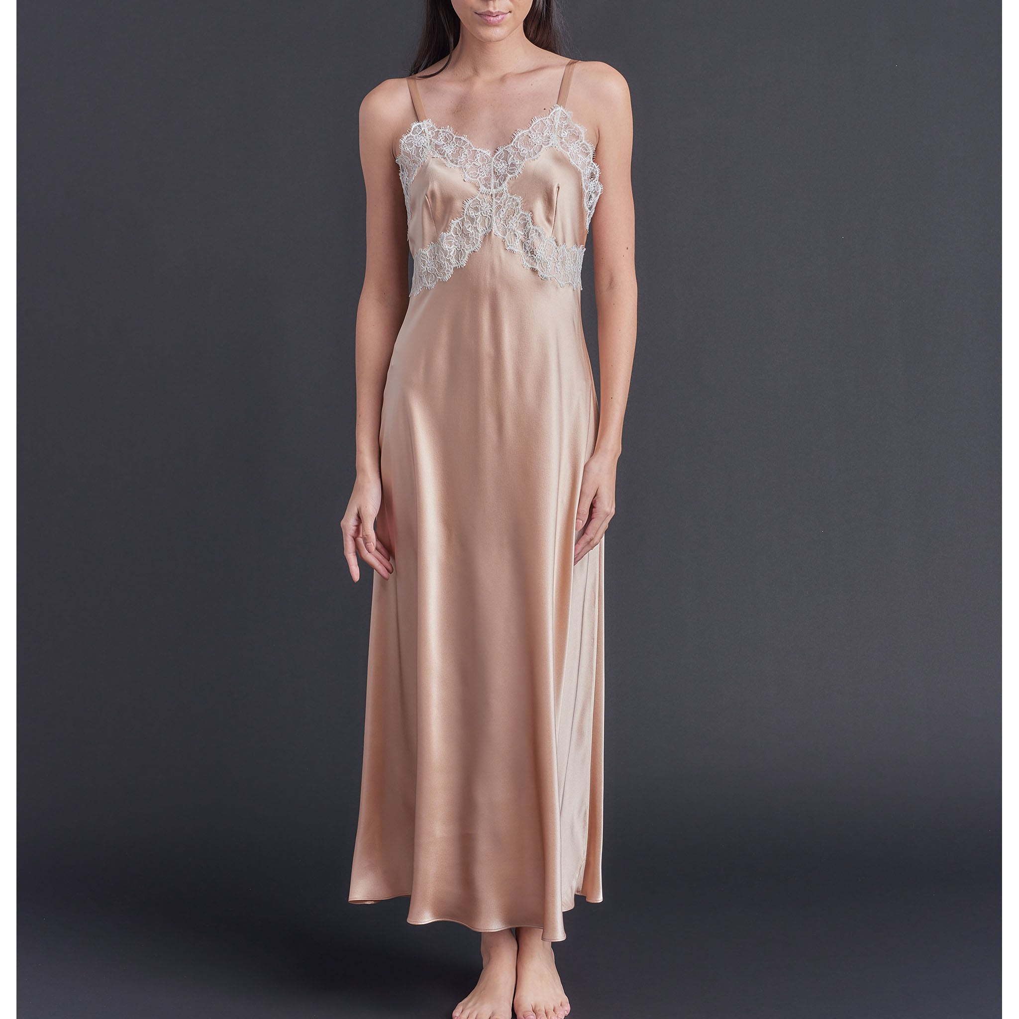 Marlayne Silk Charmeuse Slip in Vintage Blush