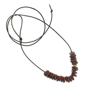 Marbleized Recycled Glass Bead Necklace - Brick Red