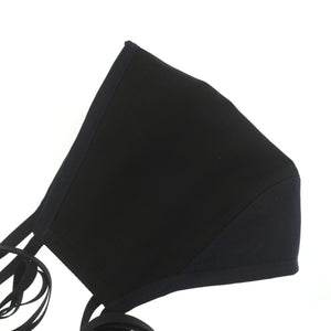 A Solid Face Mask in Color Block Black + Navy Silk Cotton Voile