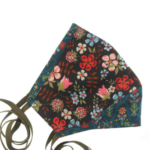 A Liberty Print Face Mask in Black + Teal Floral Cotton