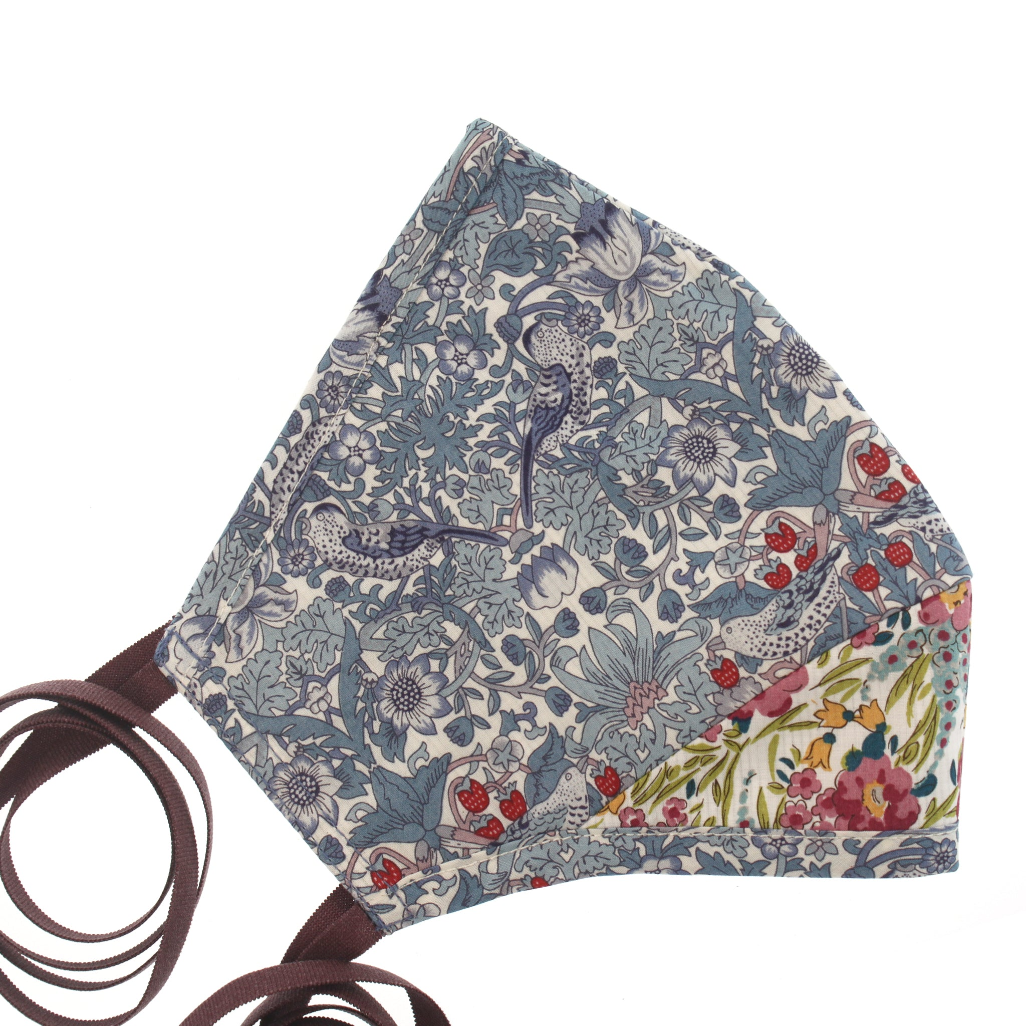 A Liberty Print Face Mask in Blue Birds + Floral Cotton