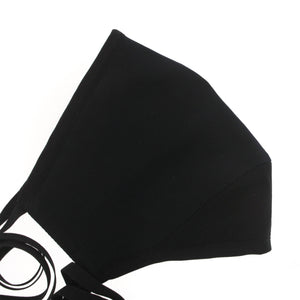 A Solid Face Mask in Color Block Navy + Black Silk Cotton Voile