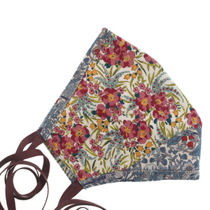 The Face Mask in Cream Floral + Blue Liberty Print