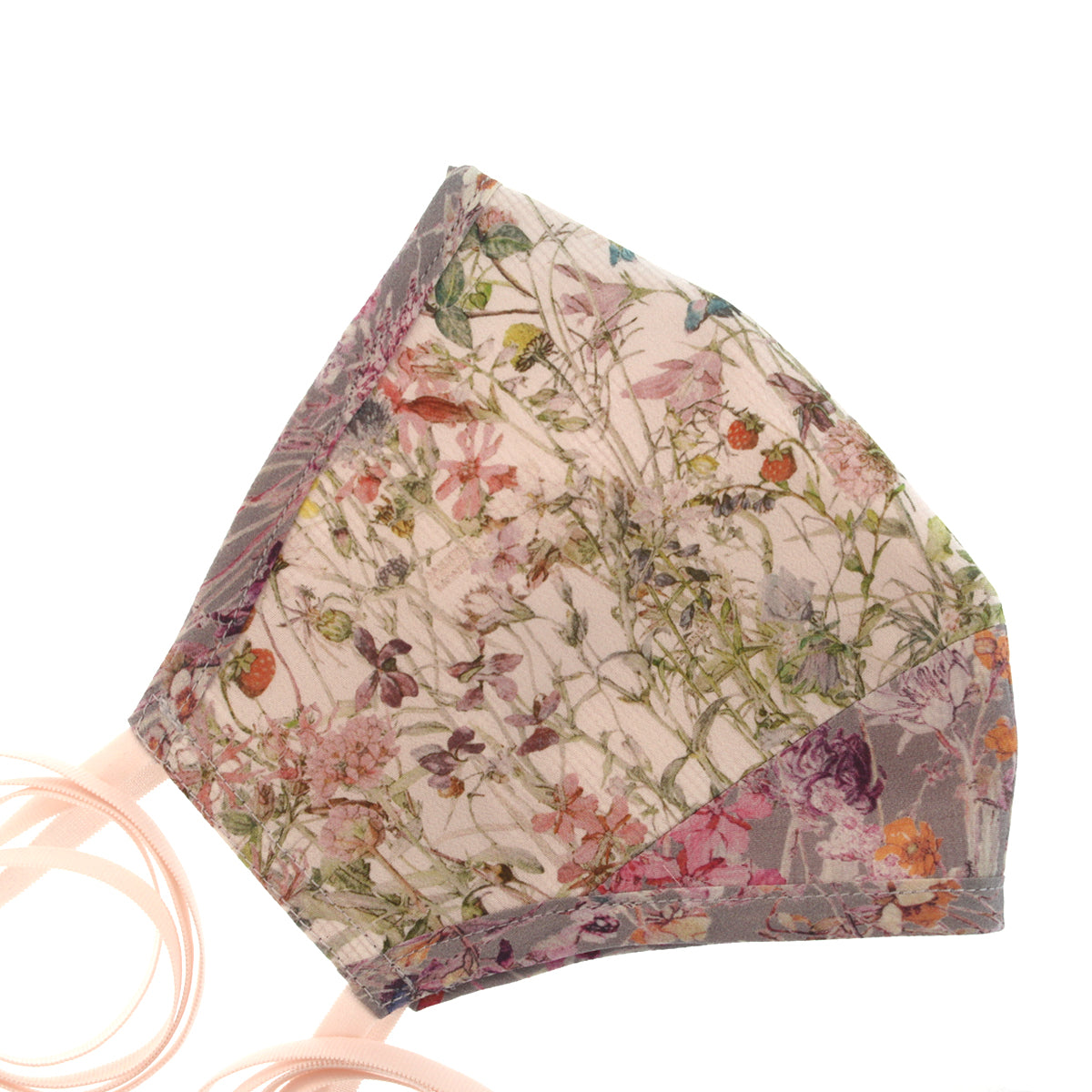 A Liberty Print Face Mask in Cream + Lavender Floral Silk