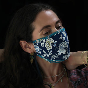 A Liberty Print Face Mask in Blue + Turquoise Floral Silk