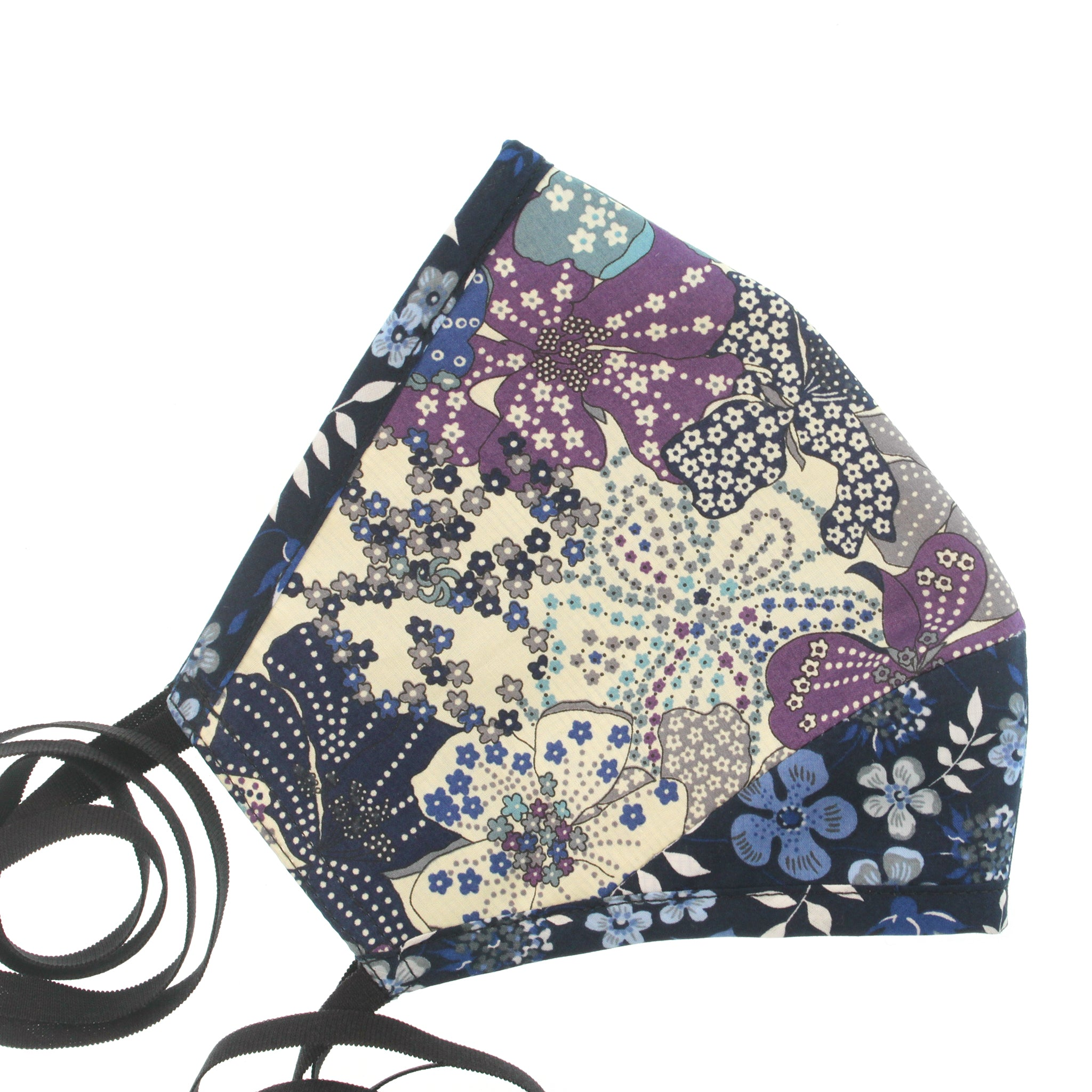 A Liberty Print Face Mask in Blue + Purple Floral Cotton