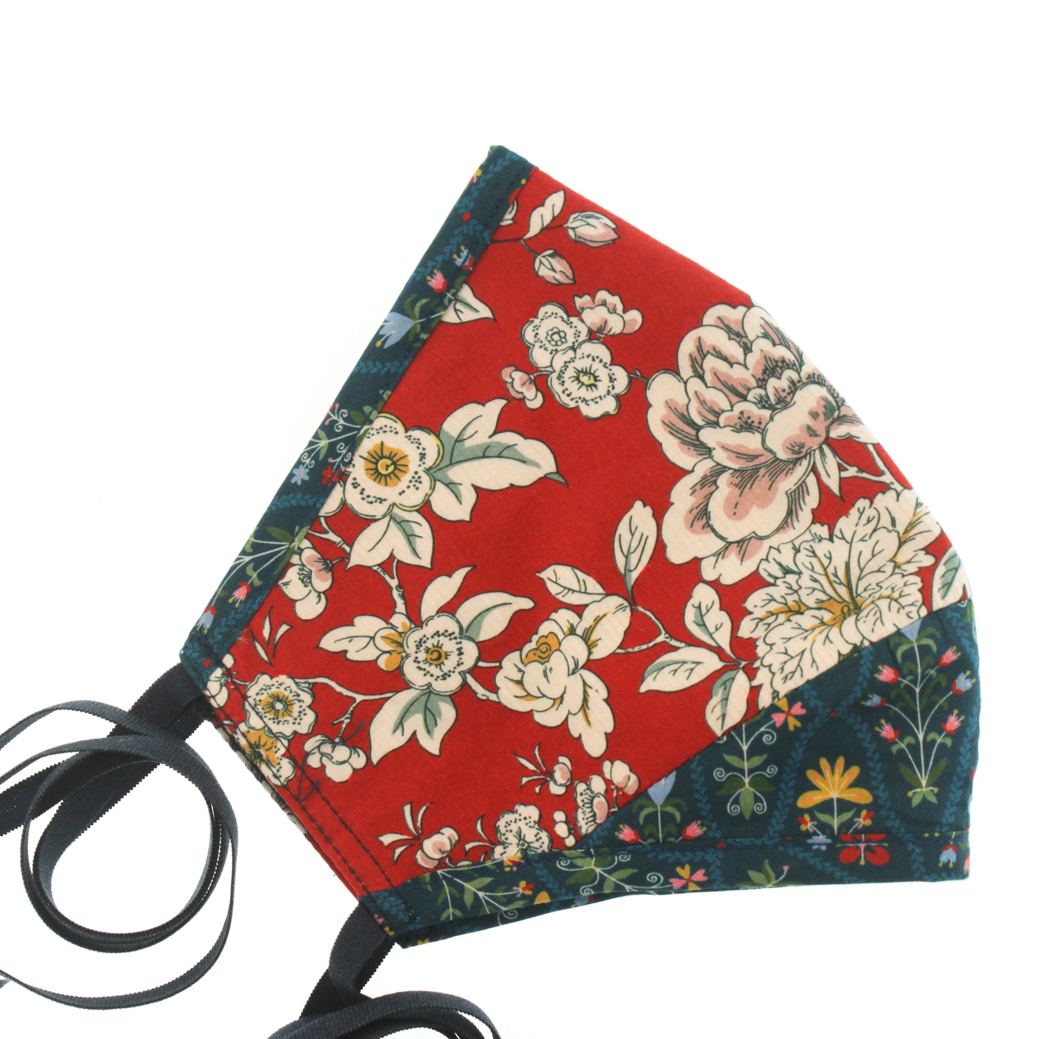 A Liberty Print Face Mask in Red + Teal Floral Cotton