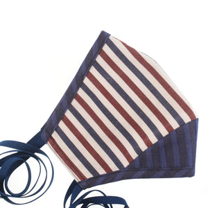 A Striped Cotton Face Mask in Italian Red, Blue, + White