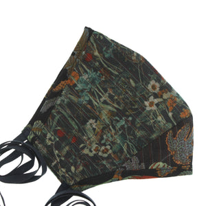 A Liberty Print Face Mask in Green Floral Silk Chiffon