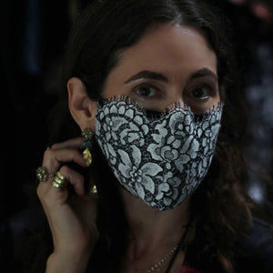 A Lace Face Mask in White + Black Silk
