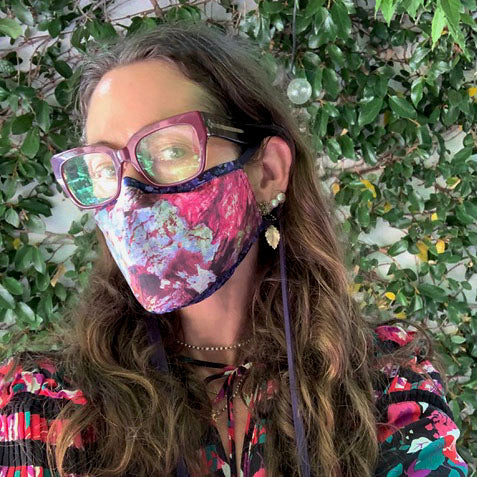 A Liberty Print Face Mask in Navy + Red Floral Cotton