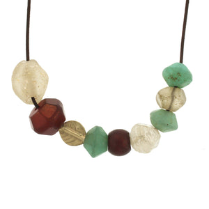 Gold Leaf and Mixed Glass Bead Necklace