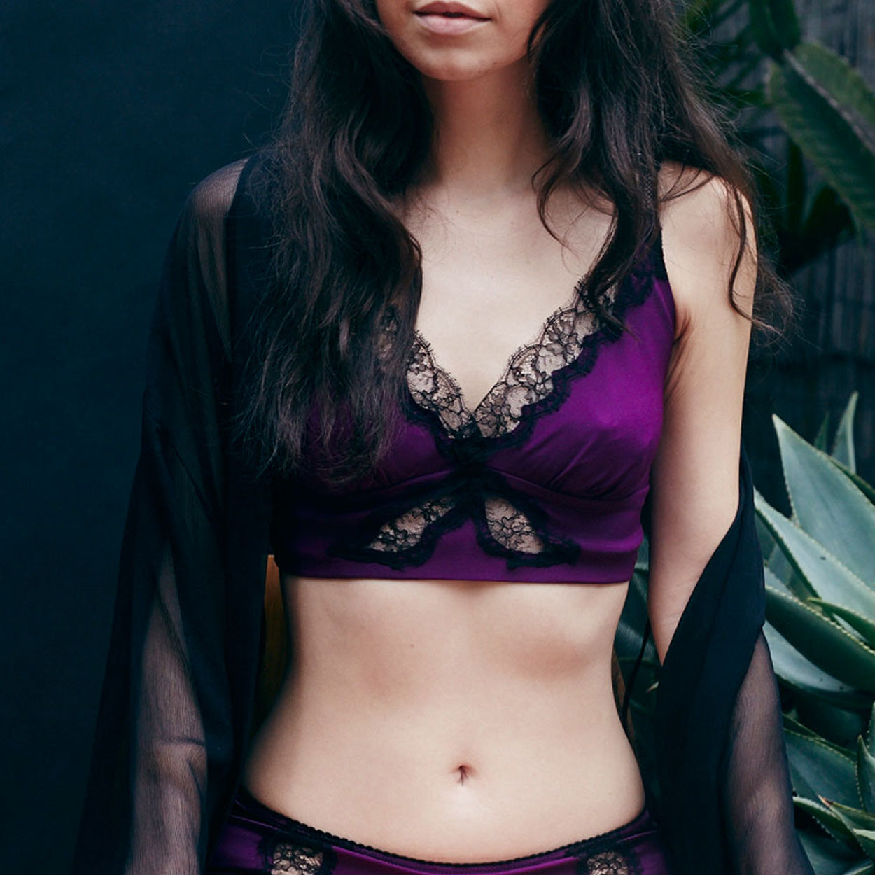 FINAL SALE - Gaia Bralette in Pink Tourmaline Stretch Silk Charmeuse
