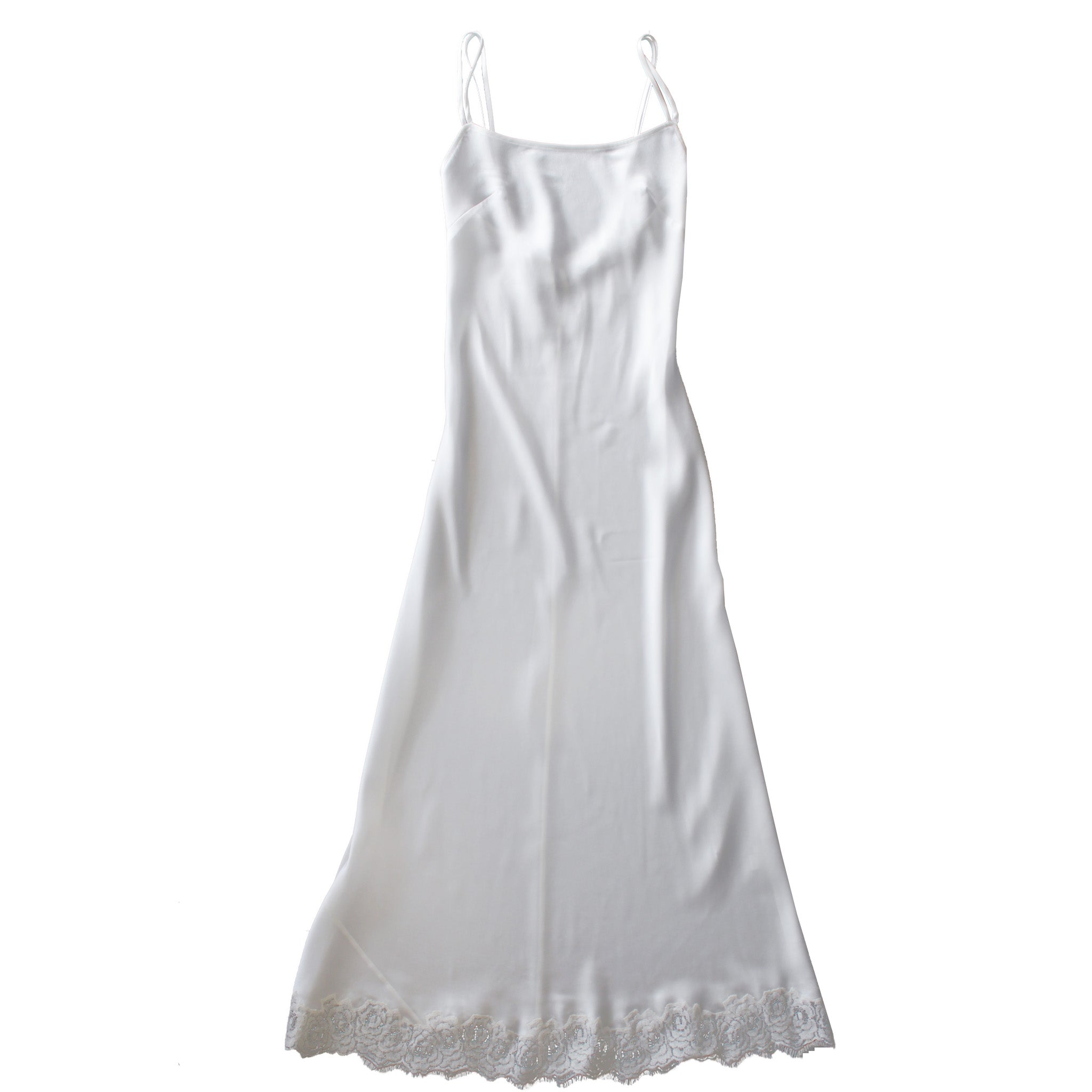 Juno Slip in Moonstone Silk Charmeuse with Lace