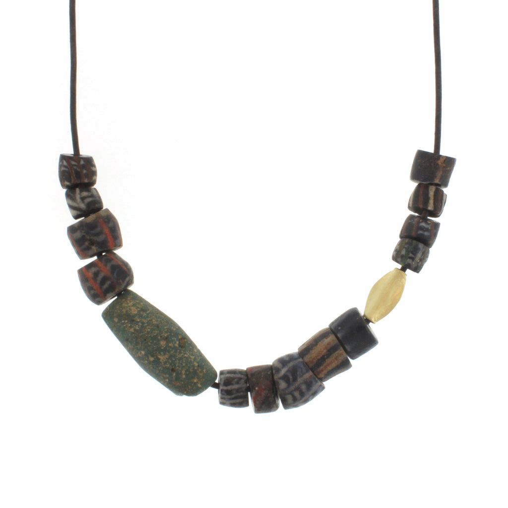 African Recycled Glass Bead Necklace in Multi Shapes and Colors