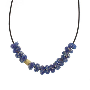 African Glass Bead Necklace - Speckled Blue