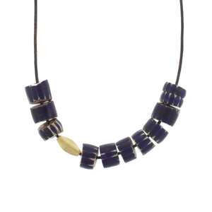 Blue Striped Trade Bead Necklace