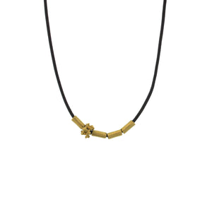 A Gold Tube + Bali Bead Necklace