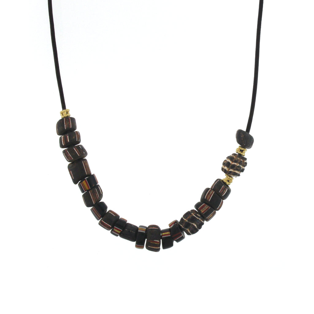The Antique African Striped Bead Necklace in Black