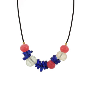 Ancient Rose and Blue Glass Bead Necklace