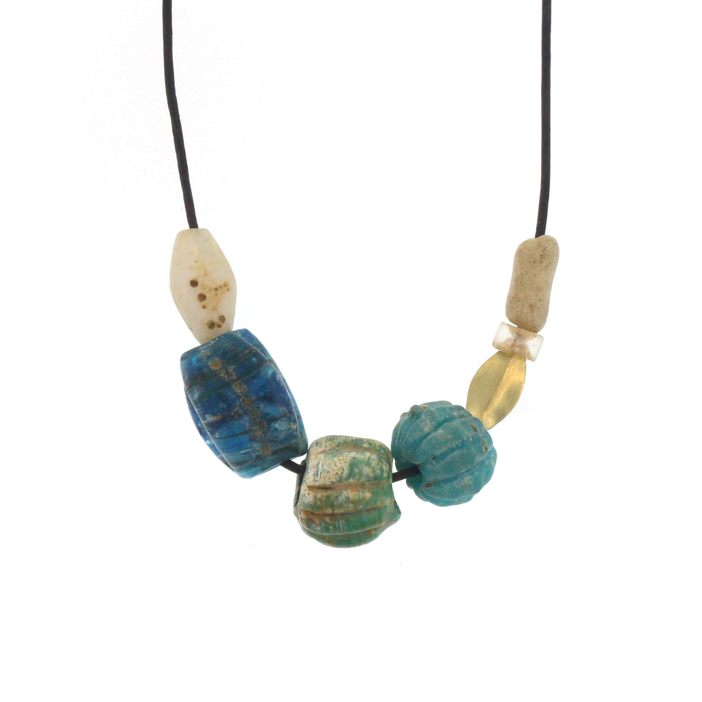 The Ancient Glass Bead and Gold Necklace in Ocean