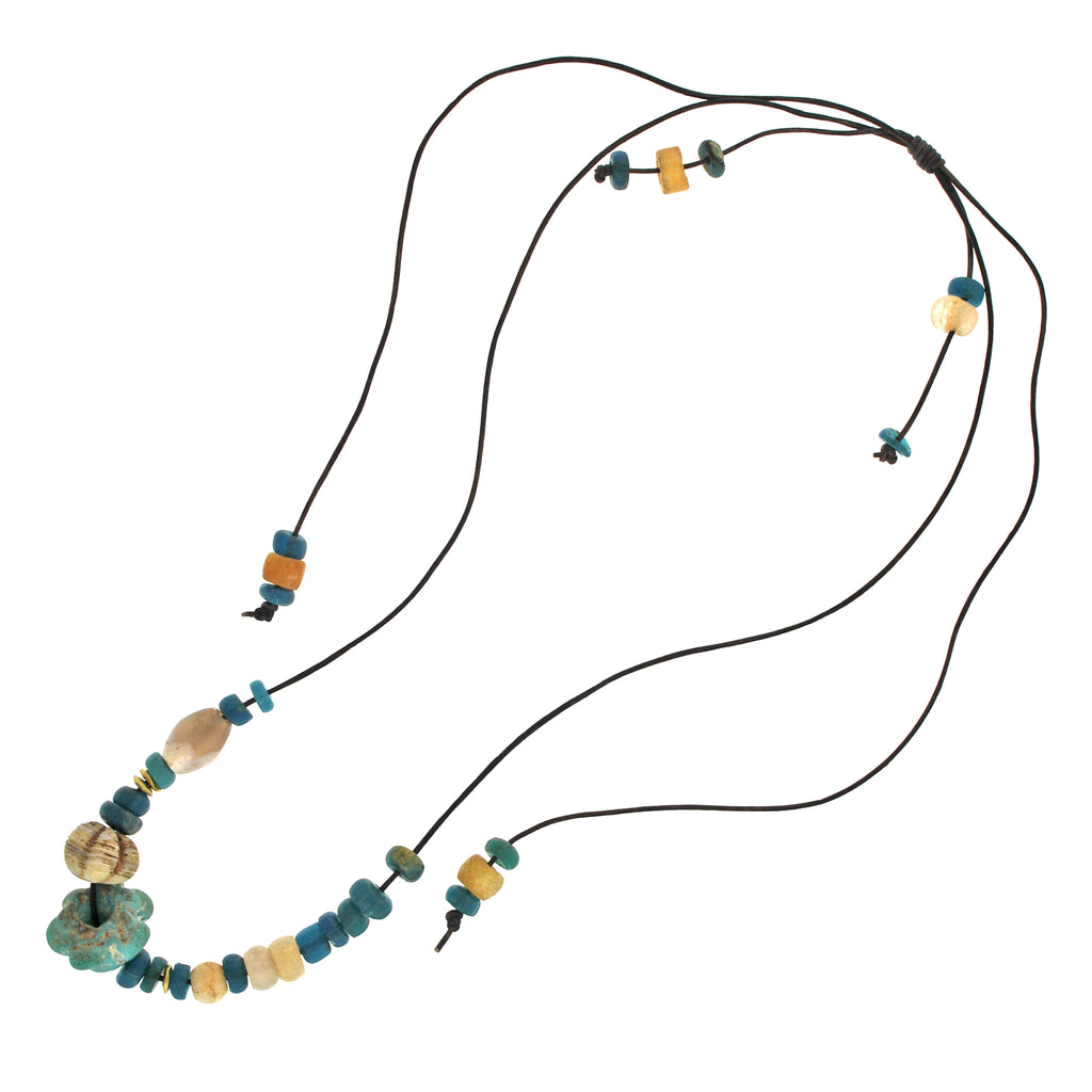The Long Ancient Glass Bead and Gold Necklace