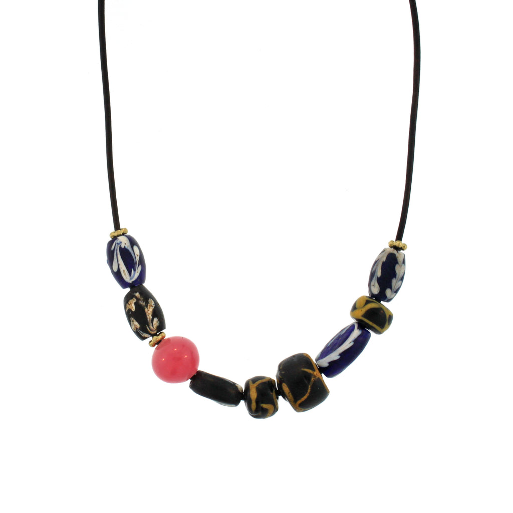The Ancient Patterned and Rose Bead Necklace