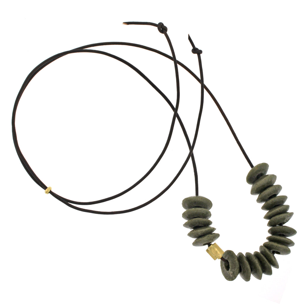 The African Olive Green Recycled Glass Bead Necklace