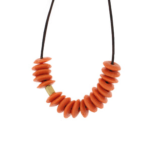 An Orange Recycled Glass Bead Necklace