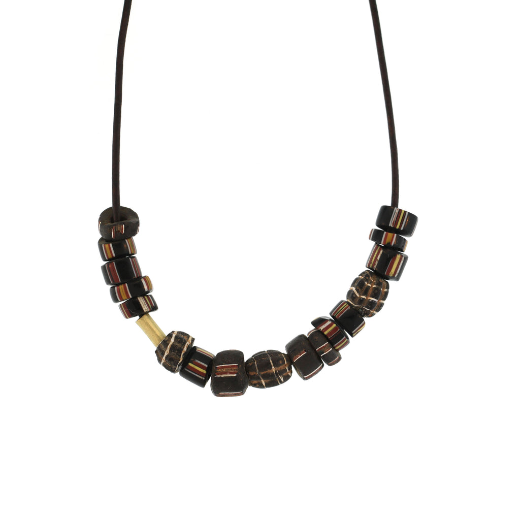 An Antique Striped Bead Necklace in Black