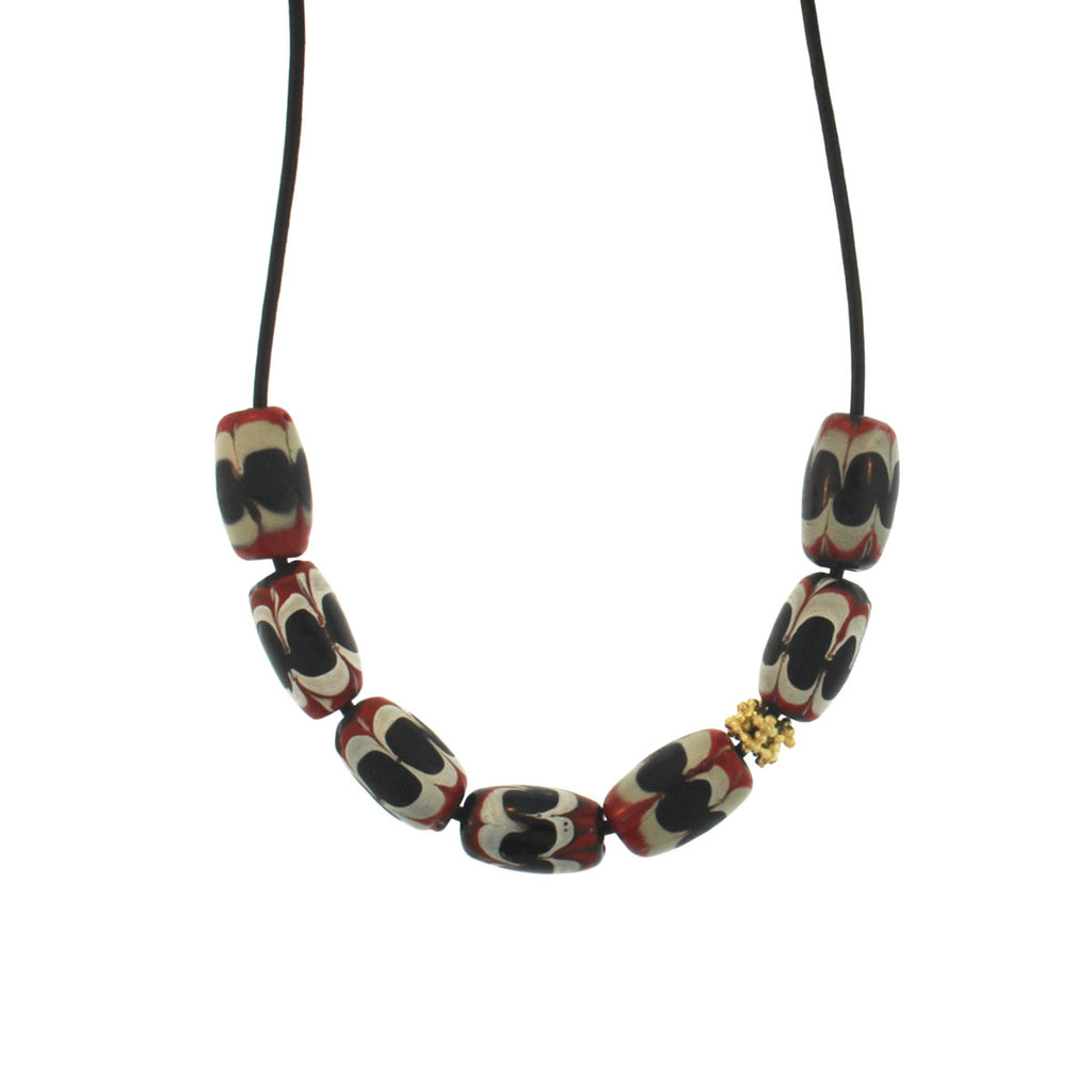 The Red, Black, + White Swirl Necklace