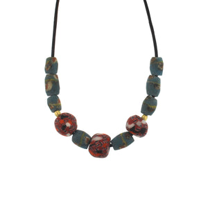 A Coral + Turquoise Patterned Glass Bead Necklace