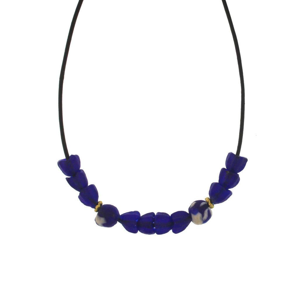 The African Blue Glass Tulip Bead Necklace