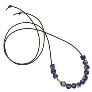 The African Blue + White Patterned Glass Bead Necklace