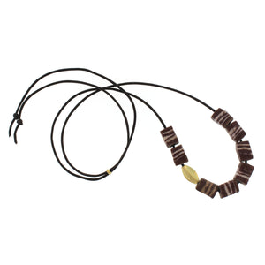Striped Brick Bead Necklace