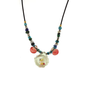 An Antique Chinese Glass Barrel Bead Necklace