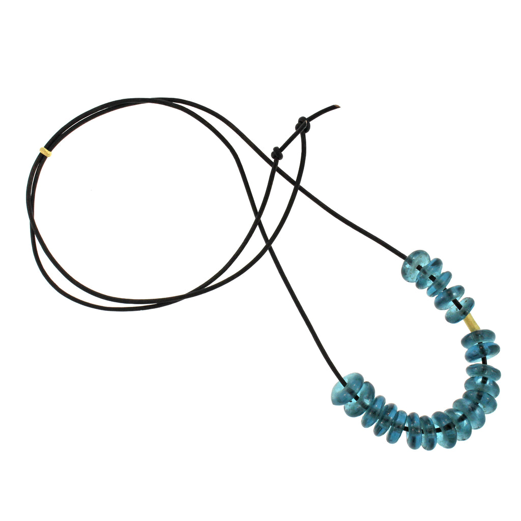 African Marine Blue Glass Bead Necklace