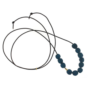 A Deep Blue Recycled Glass Bead Necklace