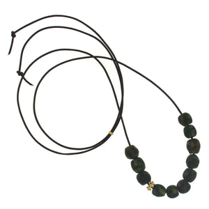 A Deep Green Patterned Glass Bead Necklace