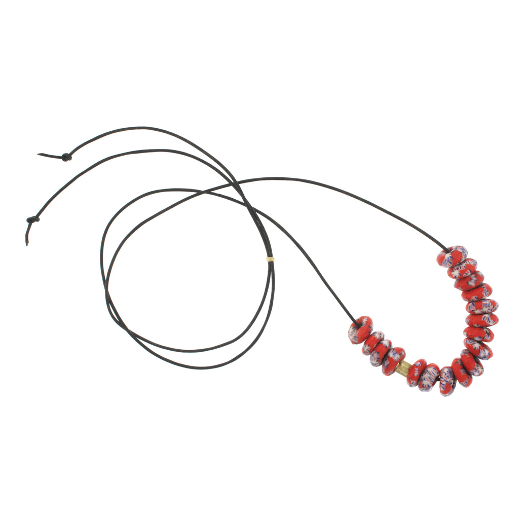 A Red Speckled Recycled African Glass Bead Necklace