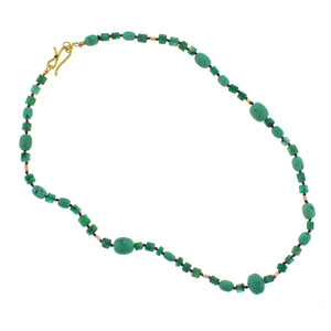 An Emerald, Turquoise and Gold Bead Necklace