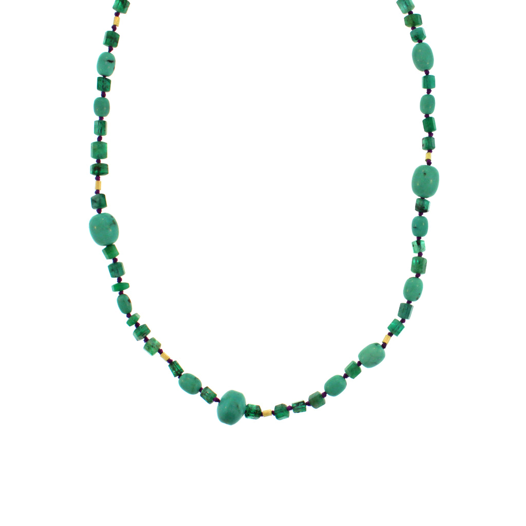 The Emerald, Turquoise and Gold Bead Necklace