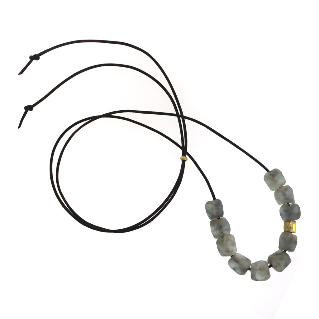 A Grey Recycled Glass Bead Necklace