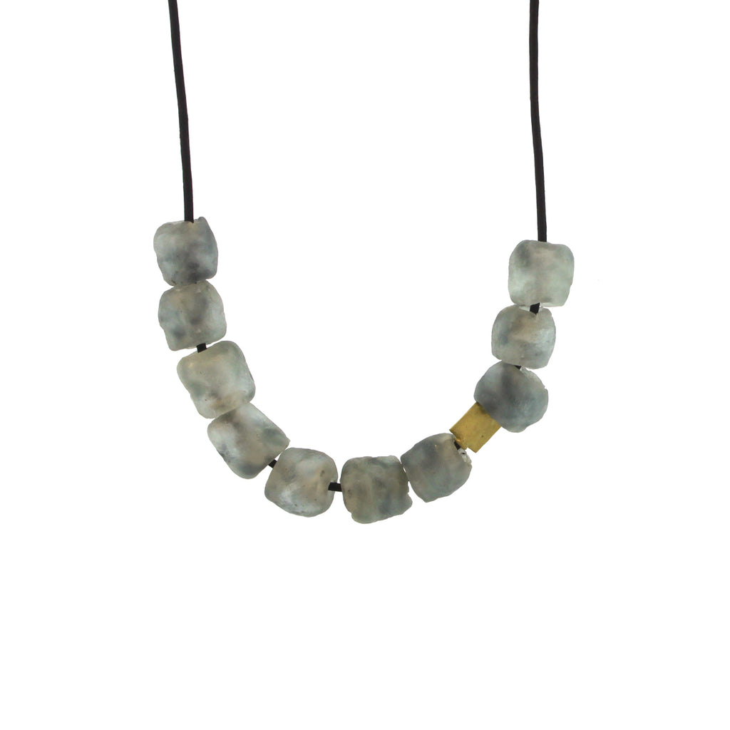The African Grey Recycled Glass Bead Necklace