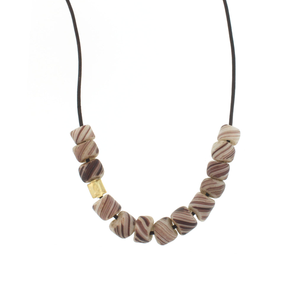 Swirled Grey Glass Beads Necklace