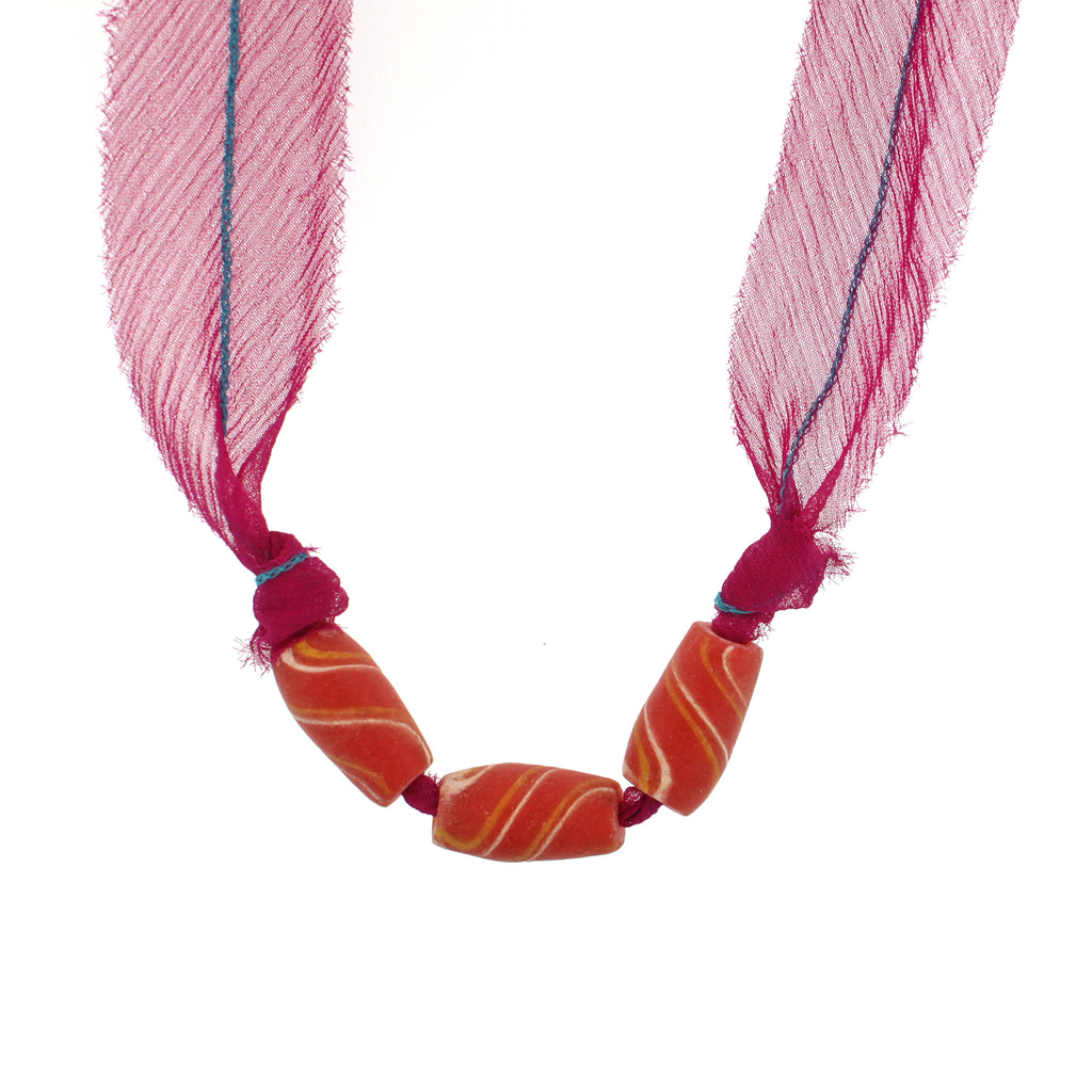 African Glass Beads with Pink Silk Chiffon Tie Necklace