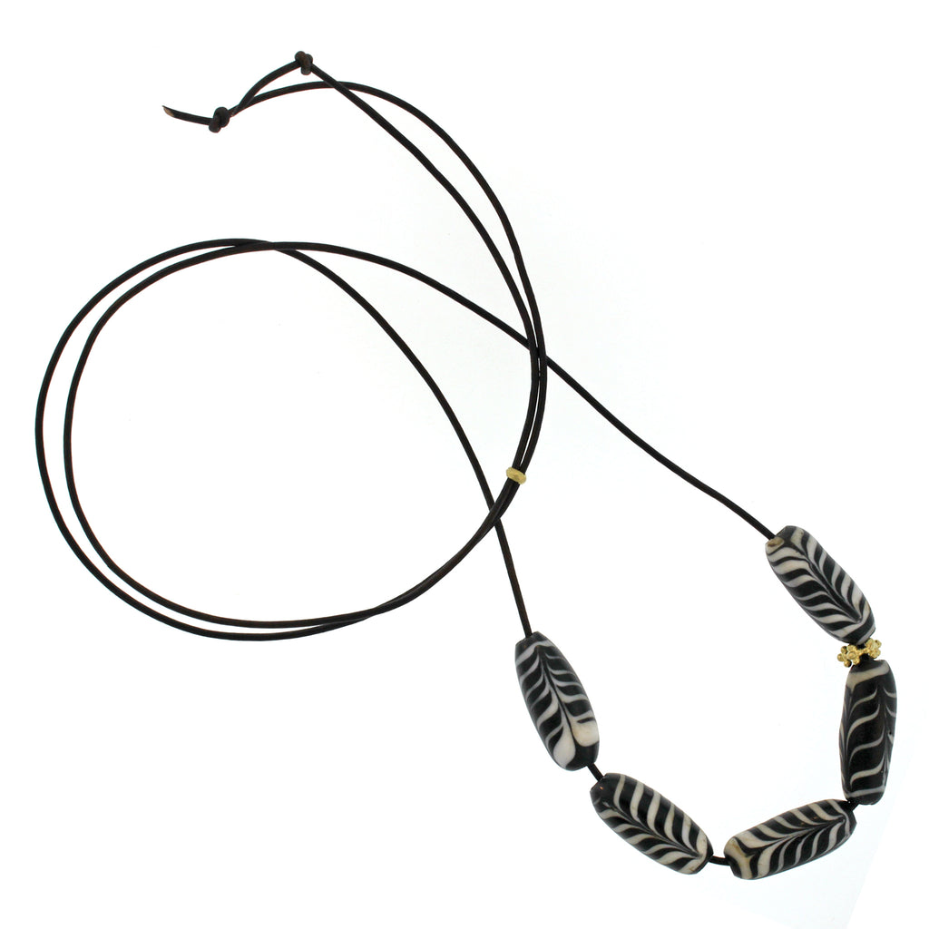 The Indonesian Black + White Swirl Glass Bead Necklace