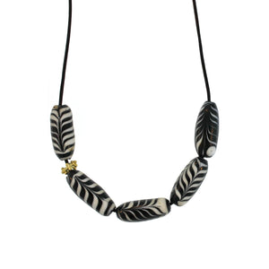 Indonesian Black + White Swirl Glass Bead Necklace