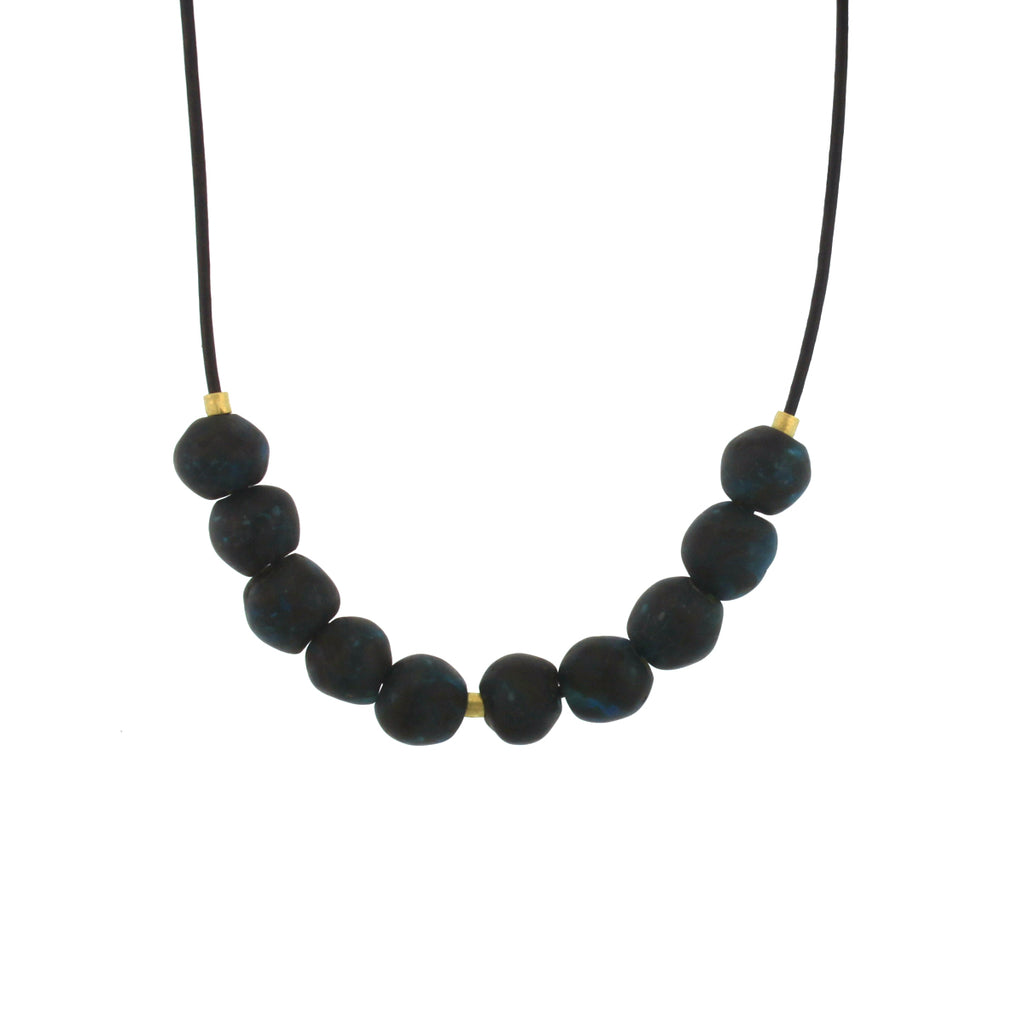 A Dark Blue Recycled Glass Bead Necklace