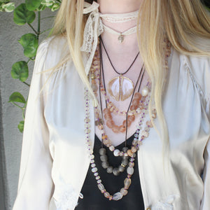 Mali Quartz and Gold Bead Necklace